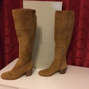 Tan suede womens knee boots